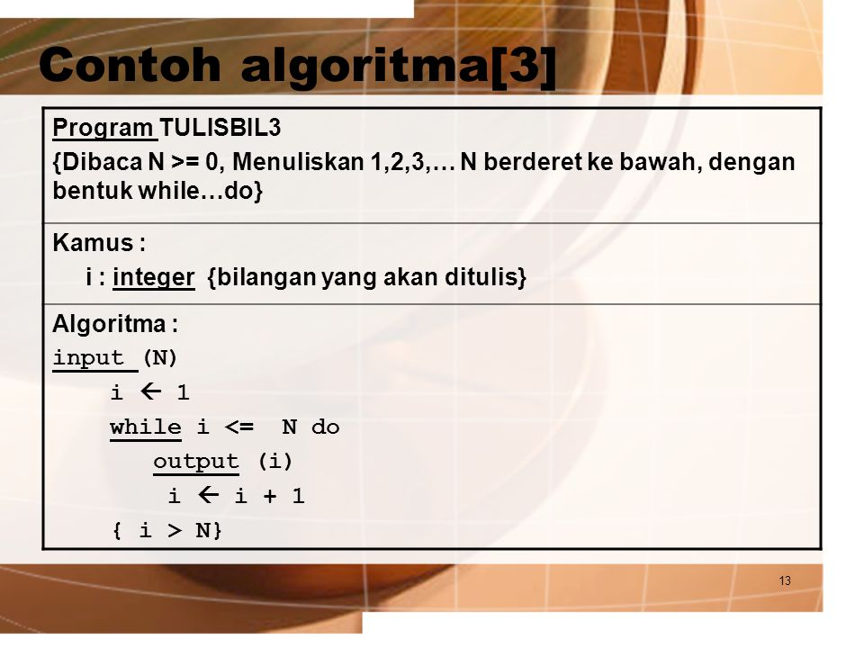 Contoh algoritma[3] Program TULISBIL3